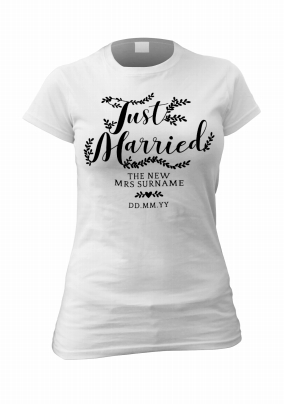 fcecf71796 just married female personalised t-shirt