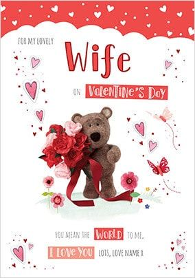 Barley Bear Wife Valentine's Personalised Card