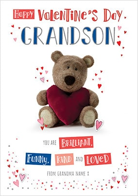 Barley Bear Grandson Valentine's Personalised Card