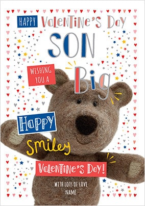 Barley Bear Son Valentine's Personalised Card