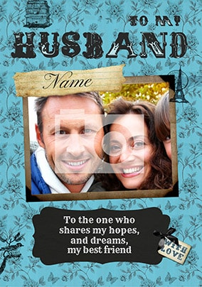 Avec L'Amour - Husband Photo Card