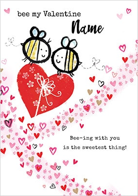 Bee My Valentine Personalised Card