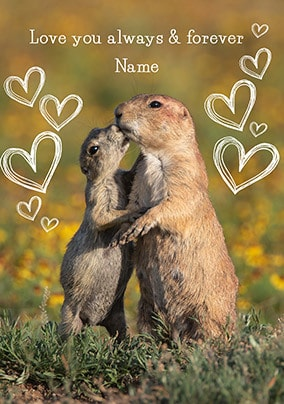 Always and Forever Prairie Dog Personalised Card