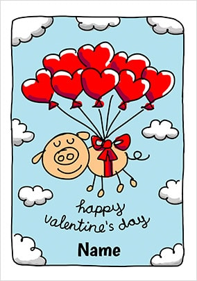 Babette Balloons Personalised Valentines Card