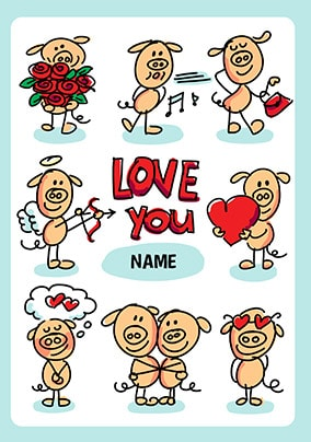 Babette Love You Personalised Card