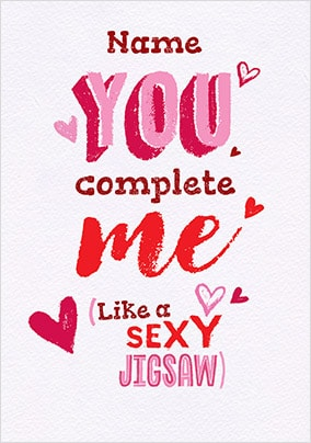 Gifts Sexy Jigsaw Personalised Valentines Card - A6 - By Funky Pigeon