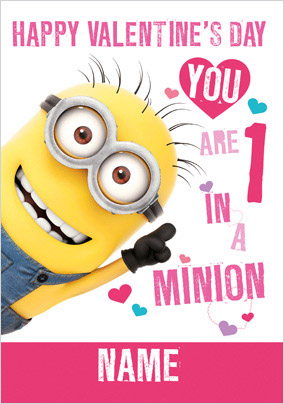 One in a Minion Valentine's Card - Despicable Me 2