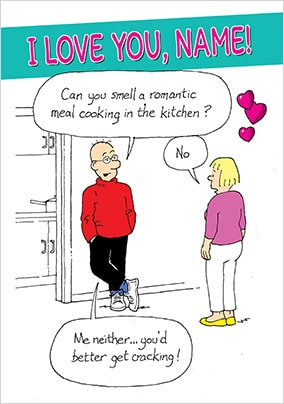 Emotional Rescue - Romantic Meal Personalised Valentines Card