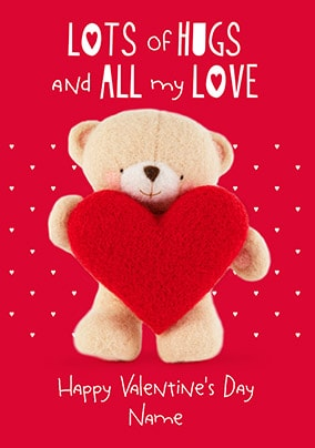 Hugs & All My Love Personalised Valentine's Card