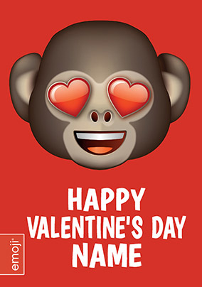 Emoji Valentine's Day Card - Monkey with Heart Eyes