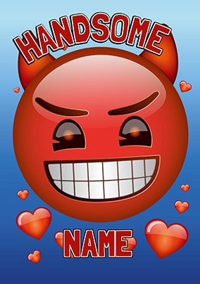 Emoji Handsome Devil Personalised Card