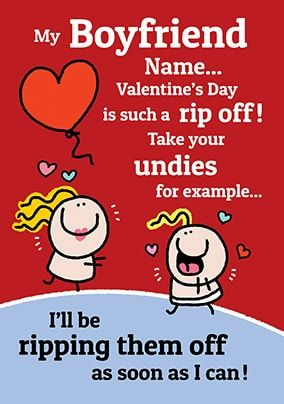 Boyfriend Undies Personalised Valentines Card