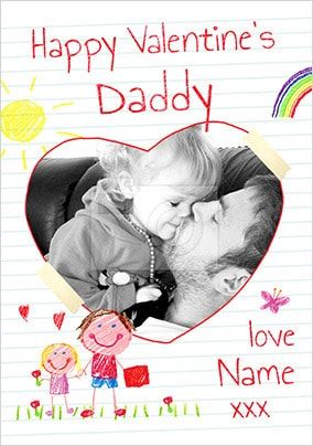 Happy Valentines Daddy Girls Photo Card