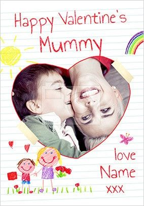 Happy Valentines Mummy Boys Photo Card