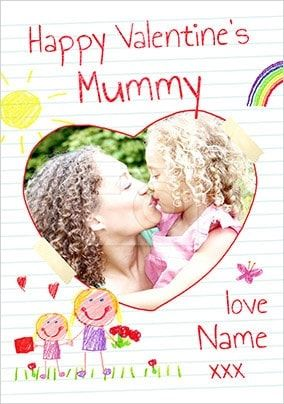Happy Valentines Mummy Girls Photo Card