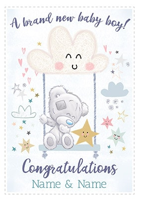 A Brand New Baby Boy Personalised Card