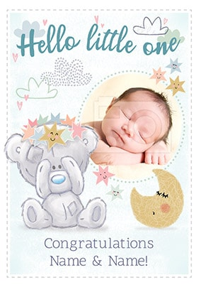 Hello Little One - Baby Boy Photo Card