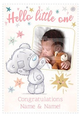 Hello Little One - Baby Girl Photo Card