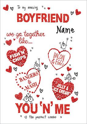 We Go Together Boyfriend Valentine S Day Card Funky Pigeon