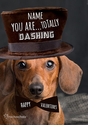 Dachshund Dashing Personalised Valentine's Card