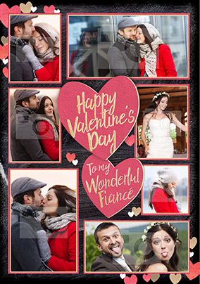 Fiancé Valentine's Day Multi Photo Upload Card - Black & Gold