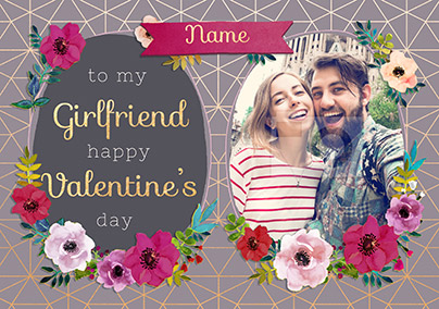 Girlfriend Valentine's Day Photo Upload Card - Neon Blush