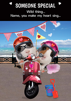 Guinea Pig Valentine's Card - Wild Thing