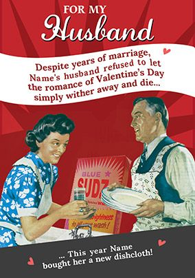Husband Valentine's Day card - A new dishcloth!
