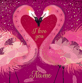 Flamingos One I Love Valentine's Card - Woodmansterne