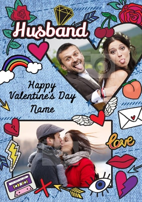 Husband Multi Photo Valentine's Card