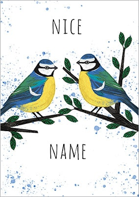 Blue Tits Personalised Card