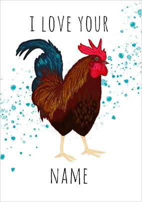 Cockerel Personalised Valentines Card