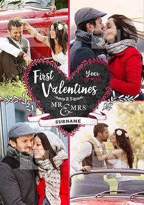 1st Valentines As Mr & Mrs Photo Card
