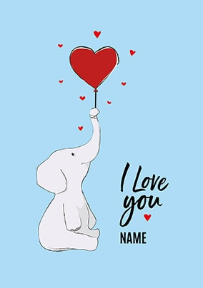 I Love You Elephant Personalised Valentines Card