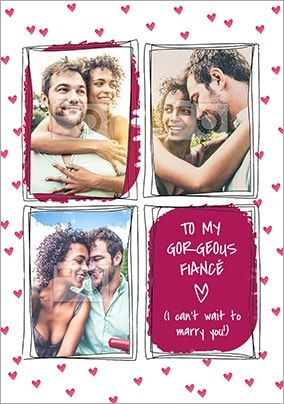 Gorgeous Fiancé Multi Photo Valentines Card
