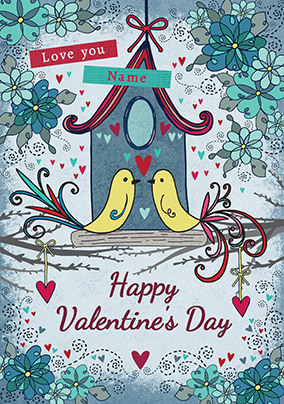 Bird House Valentine's Day Personalised Card