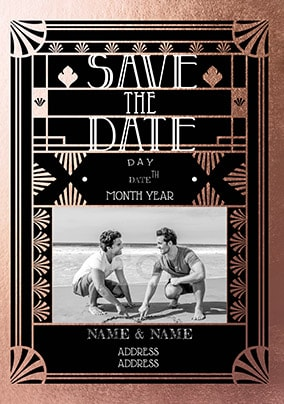 Save The Date Art Deco Photo Card Funky Pigeon
