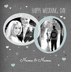 Hearts - Wedding Day Card Photo Upload Rings