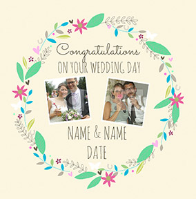 Love Story - Wedding Day Card Photo Upload Congratulations
