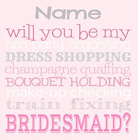 Bridesmaid Duties Card