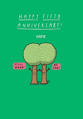 Five Years - Wood Anniversary Personalised Card