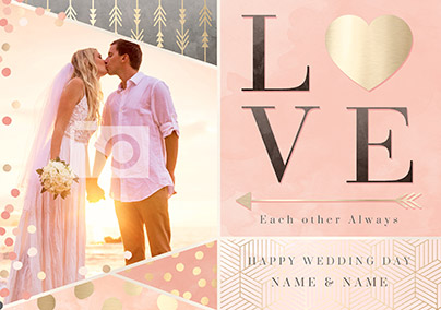 All That Shimmers - Photo Upload Love Wedding Day Card