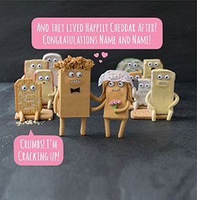 Happily Cheddar After! Cheesy Wedding Card