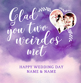 J'adore Photo Upload Wedding Weirdos Card