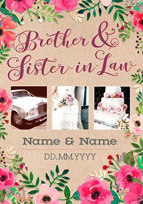 Neon Blush Photo Upload Brother Sister In Law Wedding Day Card