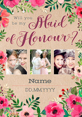 Neon Blush - Multi Photo Upload Maid of Honour Card