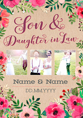 Son daughter in law wedding cards funky pigeon neon blush multi photo upload son daughter in law card m4hsunfo