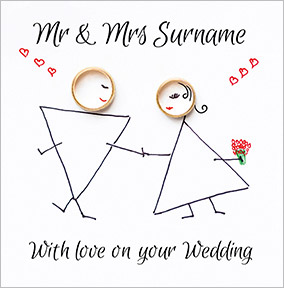Paper Rose - Wedding Card Mr & Mrs Rings & Triangles