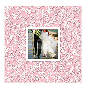 Paper Rose - Wedding Card Photo Upload Floral Cut Out