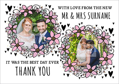 Rhapsody - Wedding Thank You Card Multi Photo Upload Floral Wreaths